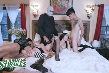 stepmom & stepsister Fucked by son and dad Familystrokes